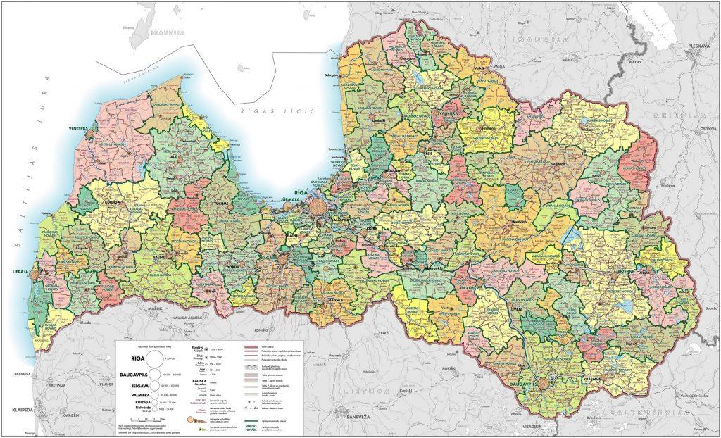 Carte détaillée de la Lettonie