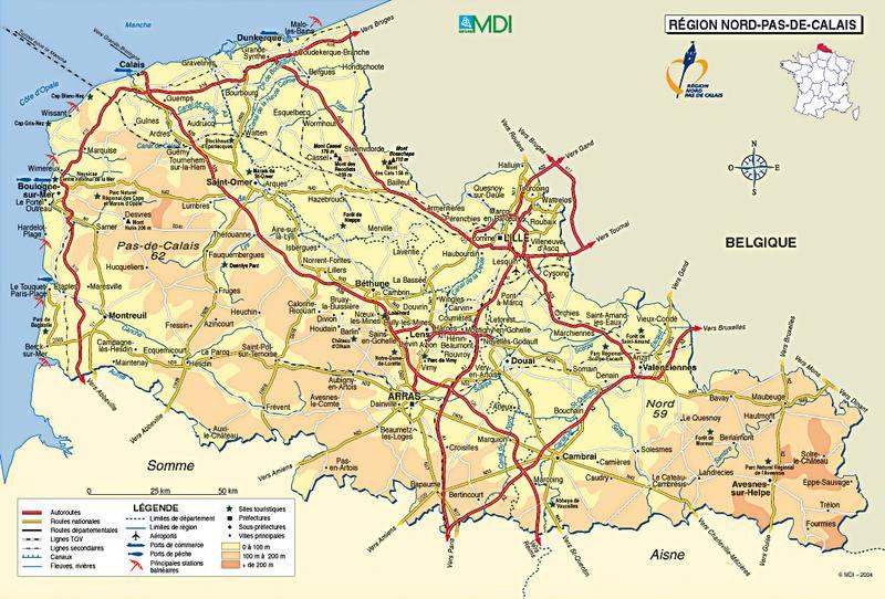 Carte détaillée du Nord-Pas-de-Calais