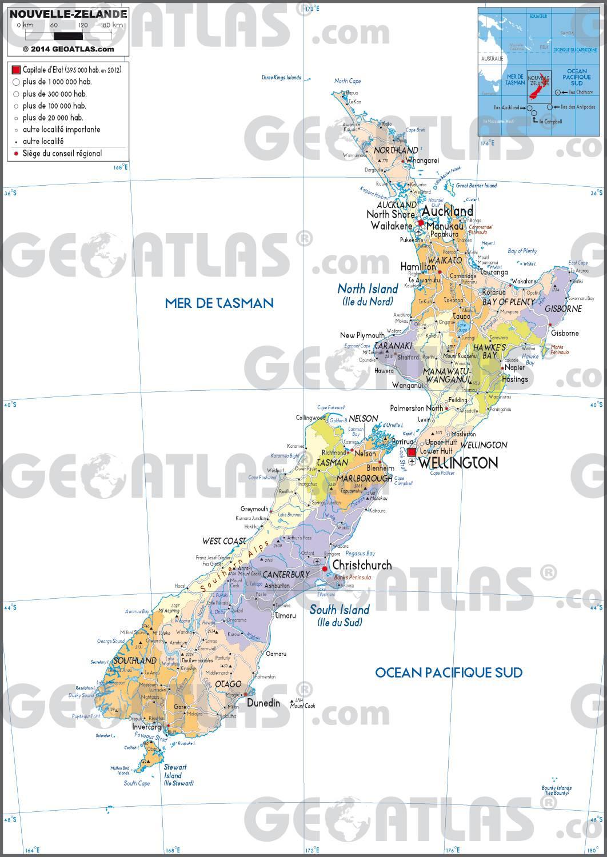 Carte détaillée de la Nouvelle-Zélande