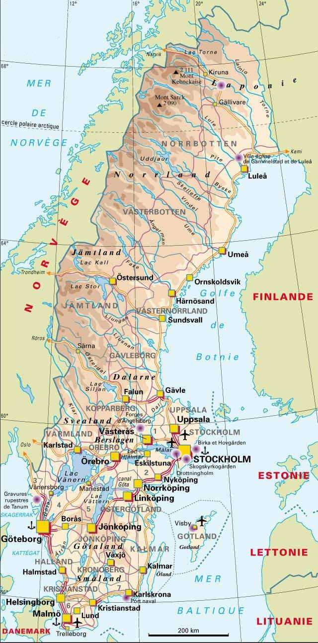 Carte détaillée de la Suède