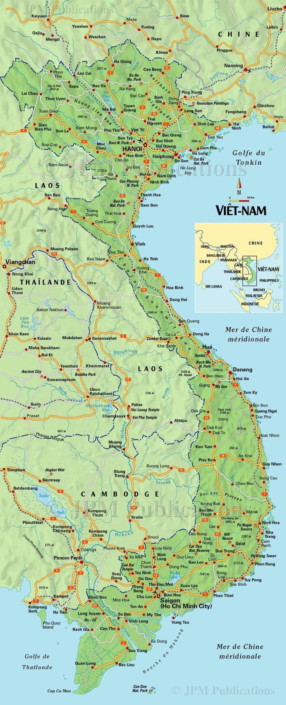 Carte détaillée du Vietnam
