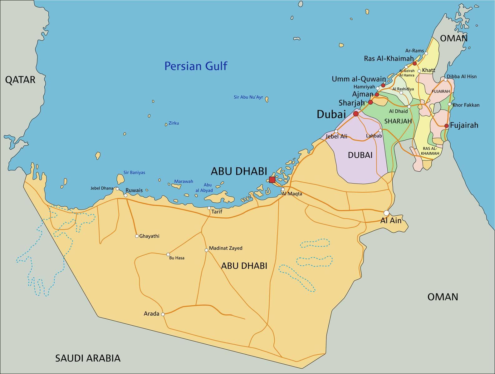 carte des emirats arabes unis plusieurs cartes du pays du moyen orient. Black Bedroom Furniture Sets. Home Design Ideas