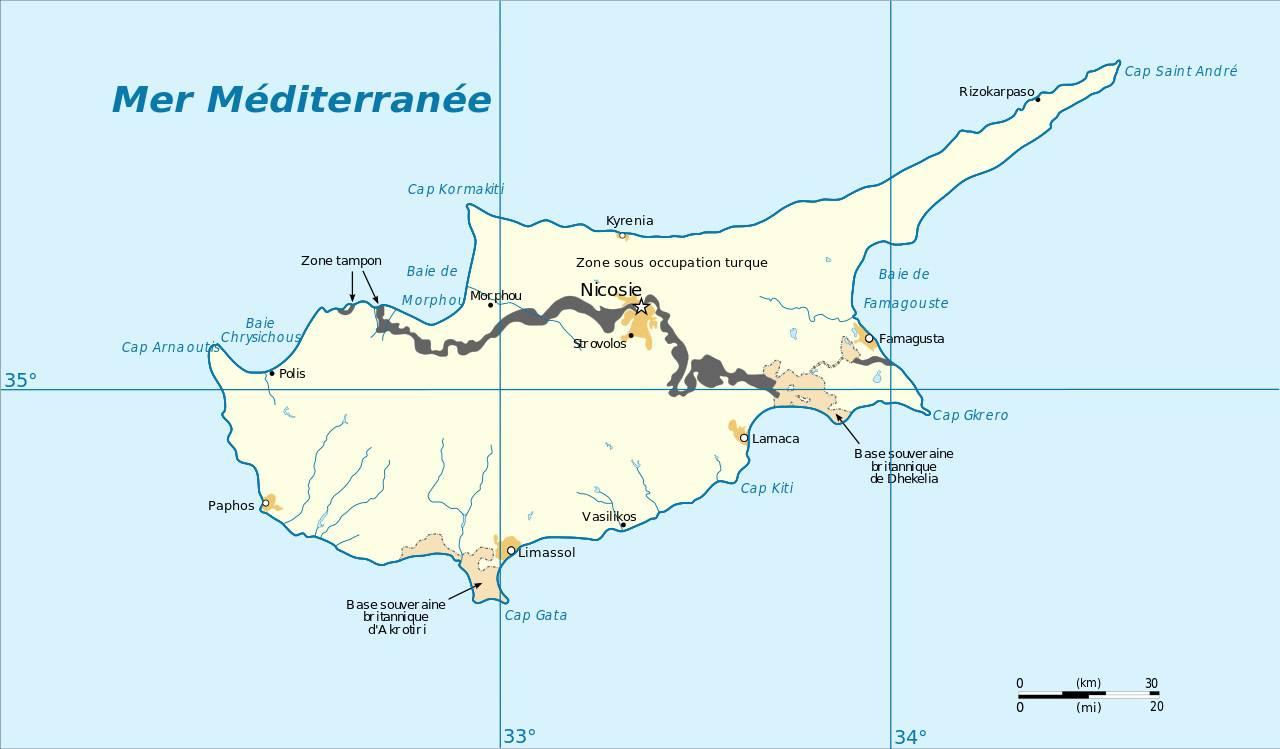 Carte des frontières de Chypre