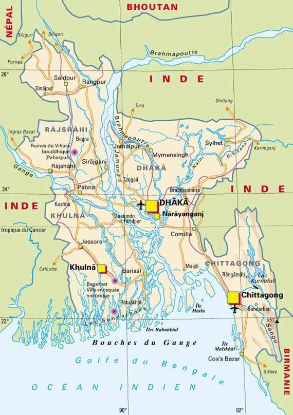 Carte géographique du Bangladesh