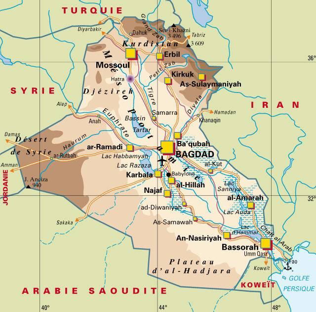 Carte géographique Irak