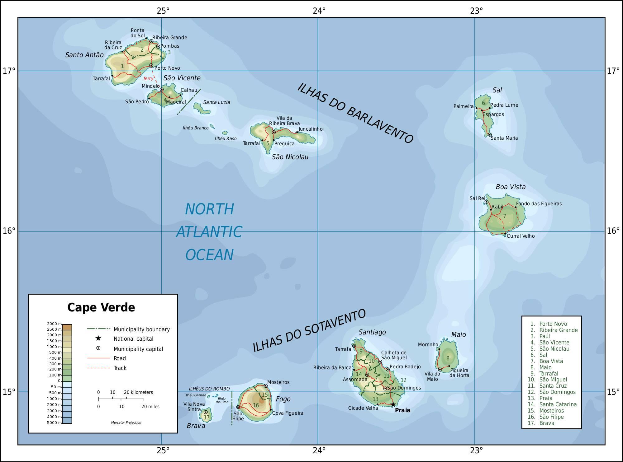Carte géographique du Cap-Vert