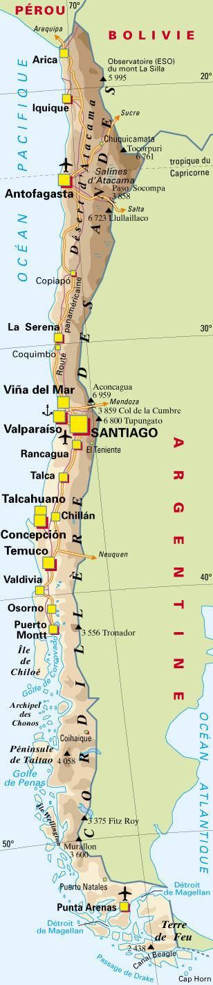 Carte géographique du Chili