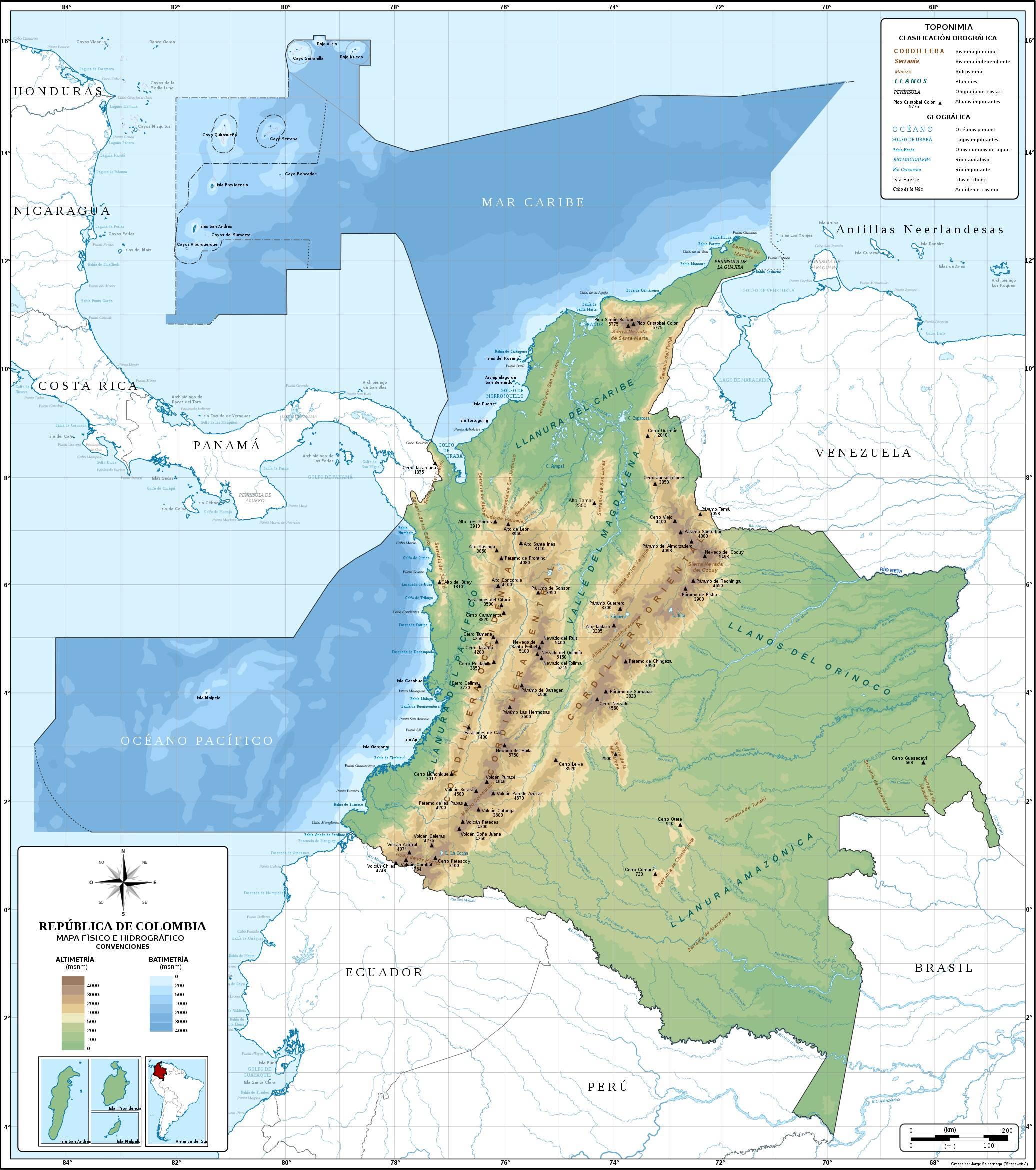 Carte géographique de la Colombie