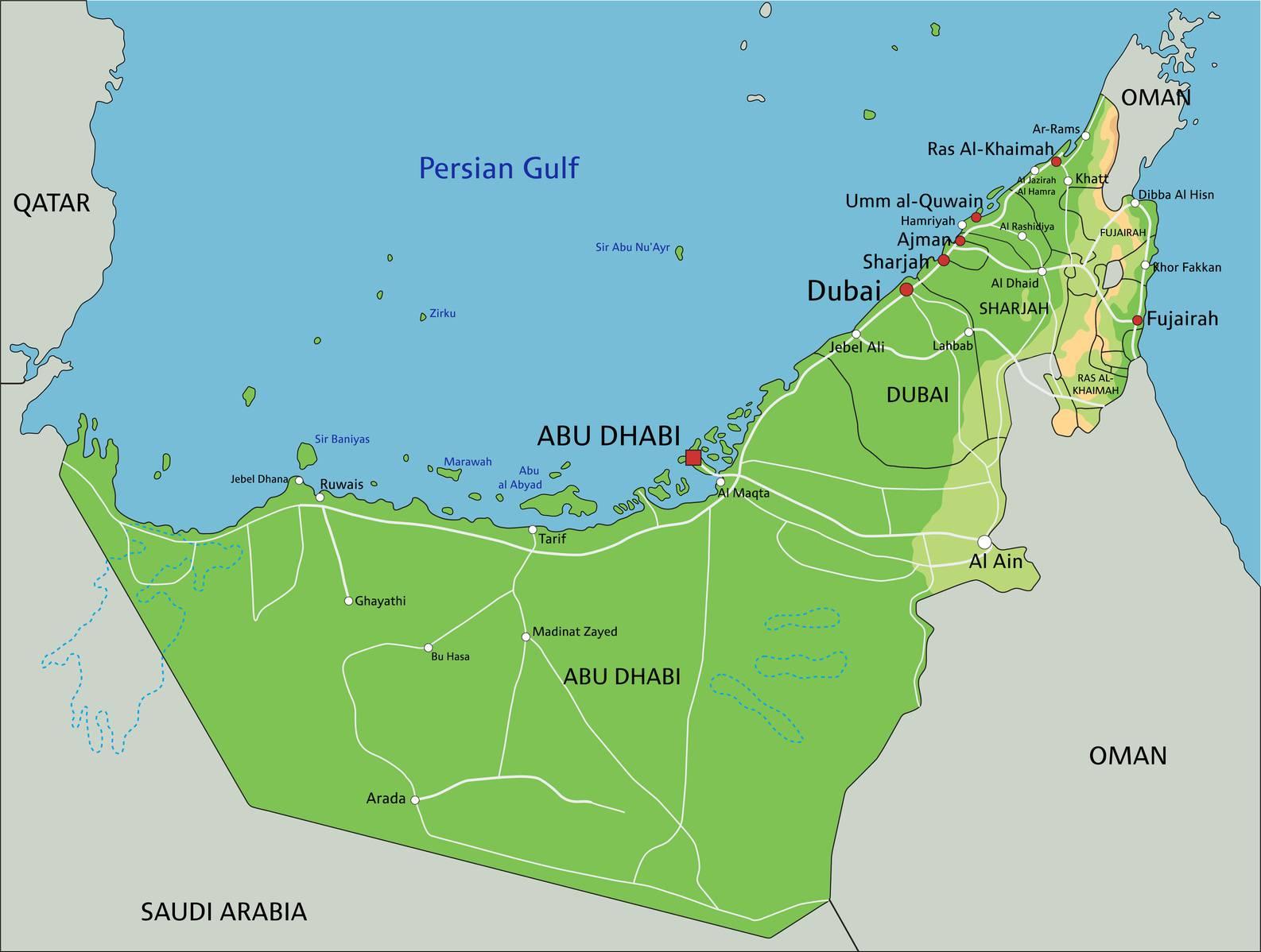 Carte géographique des Emirats arabes unis