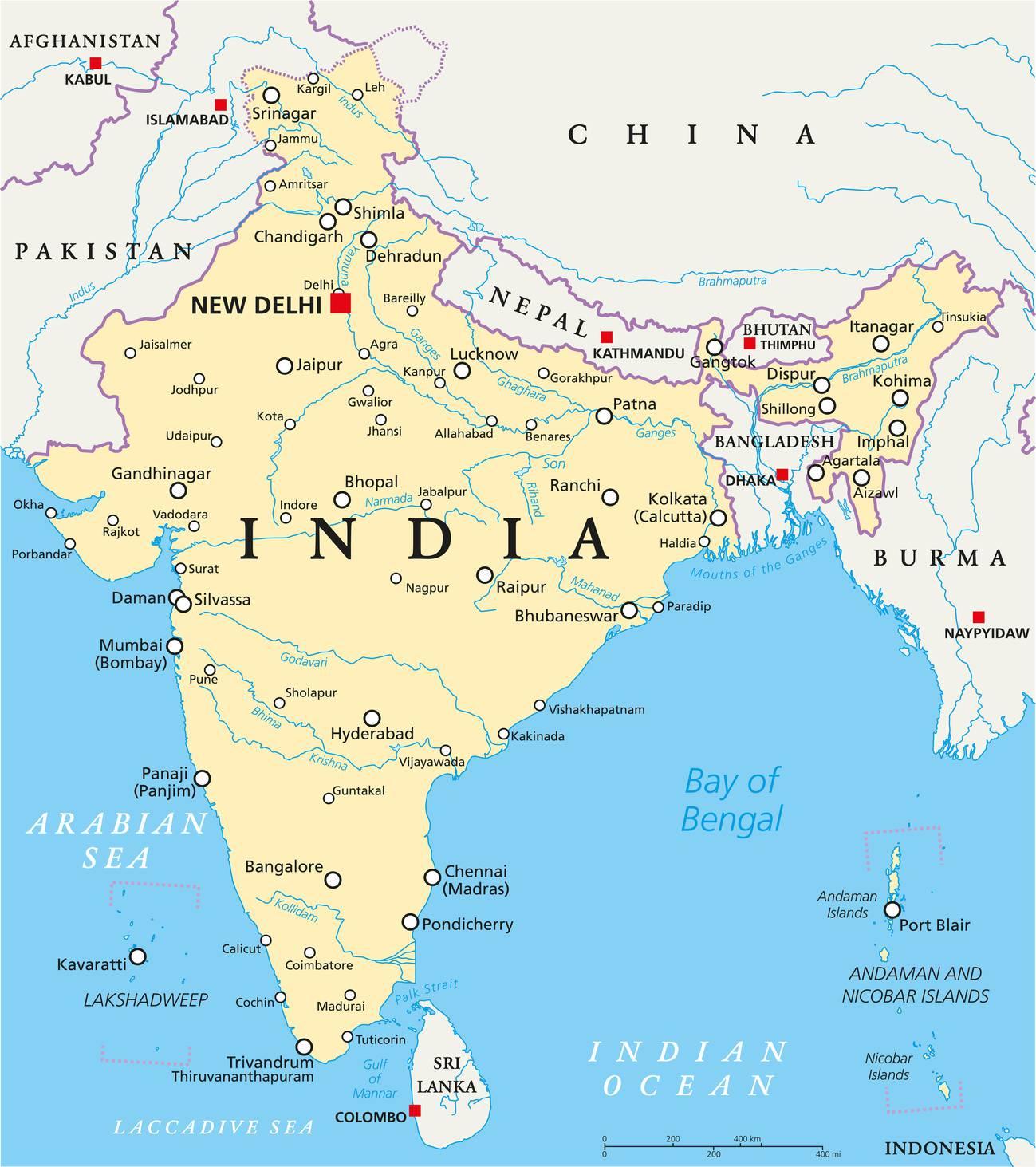 Carte De Linde De Louest.Carte De L Inde Plusieurs Cartes De L Immense Pays D Asie