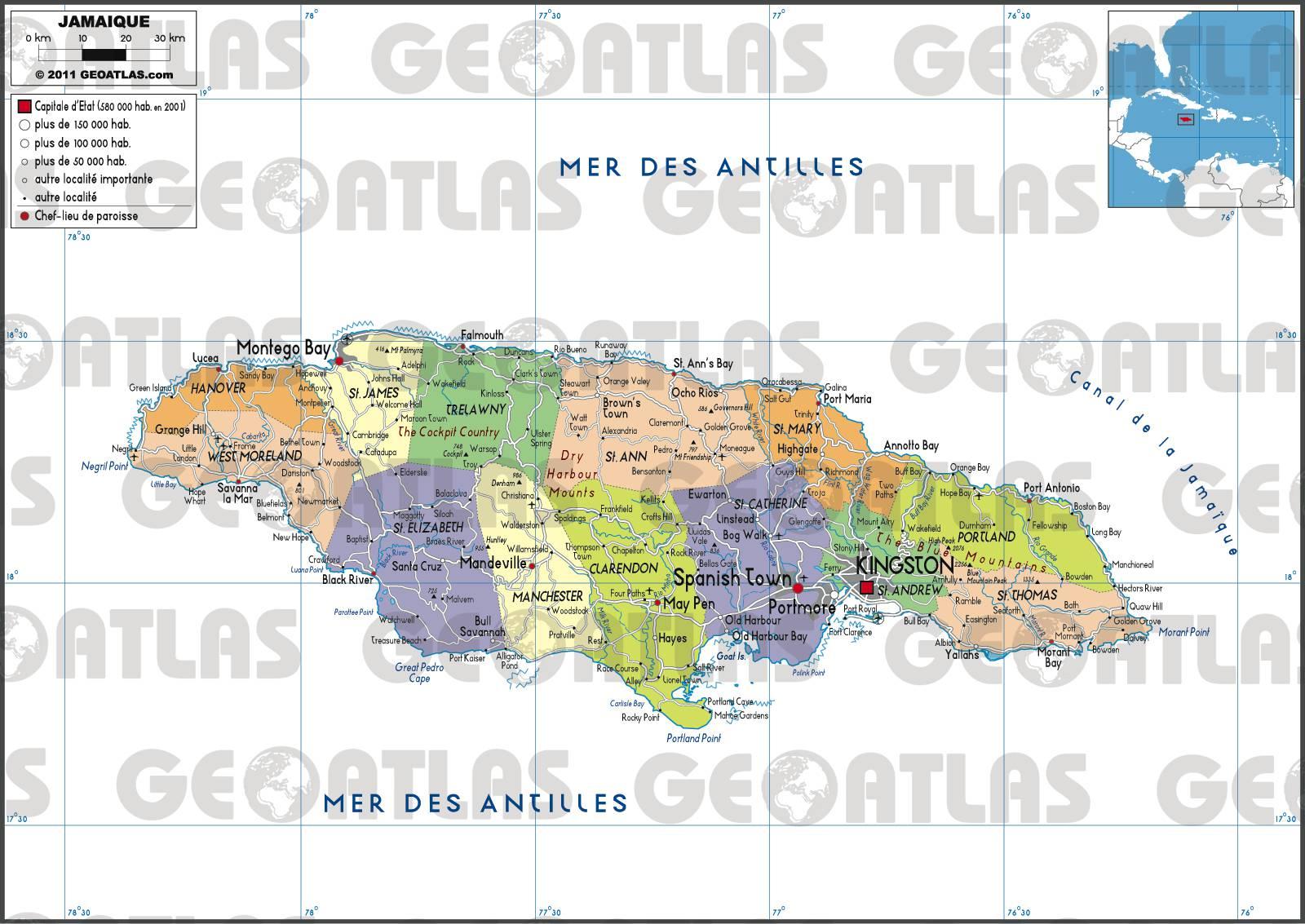 Carte géographique de la Jamaïque