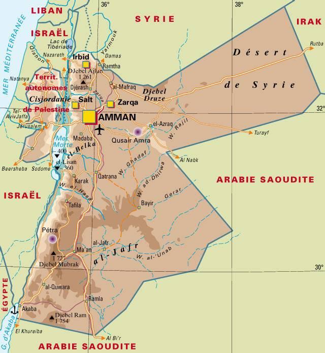 Carte géographie de la Jordanie