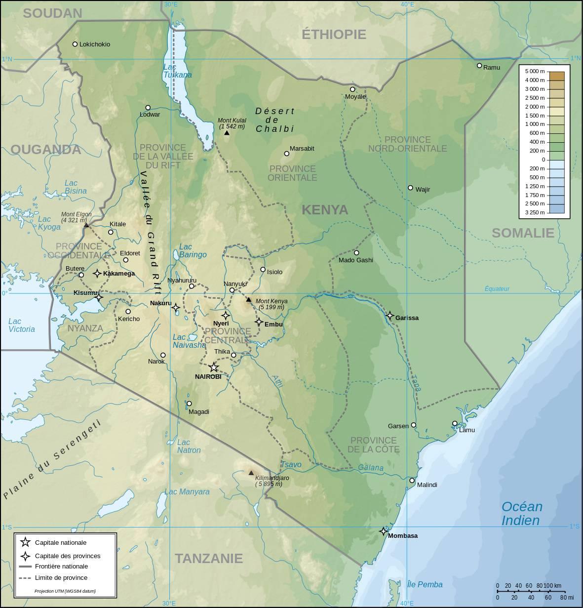 Carte géographique du Kenya