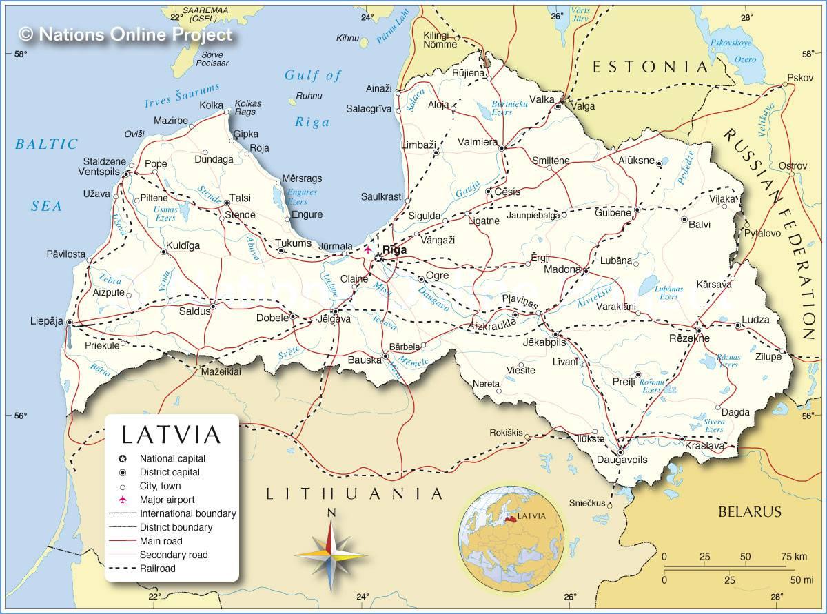 Carte de la Lettonie
