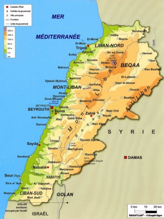 Carte géographique du Liban