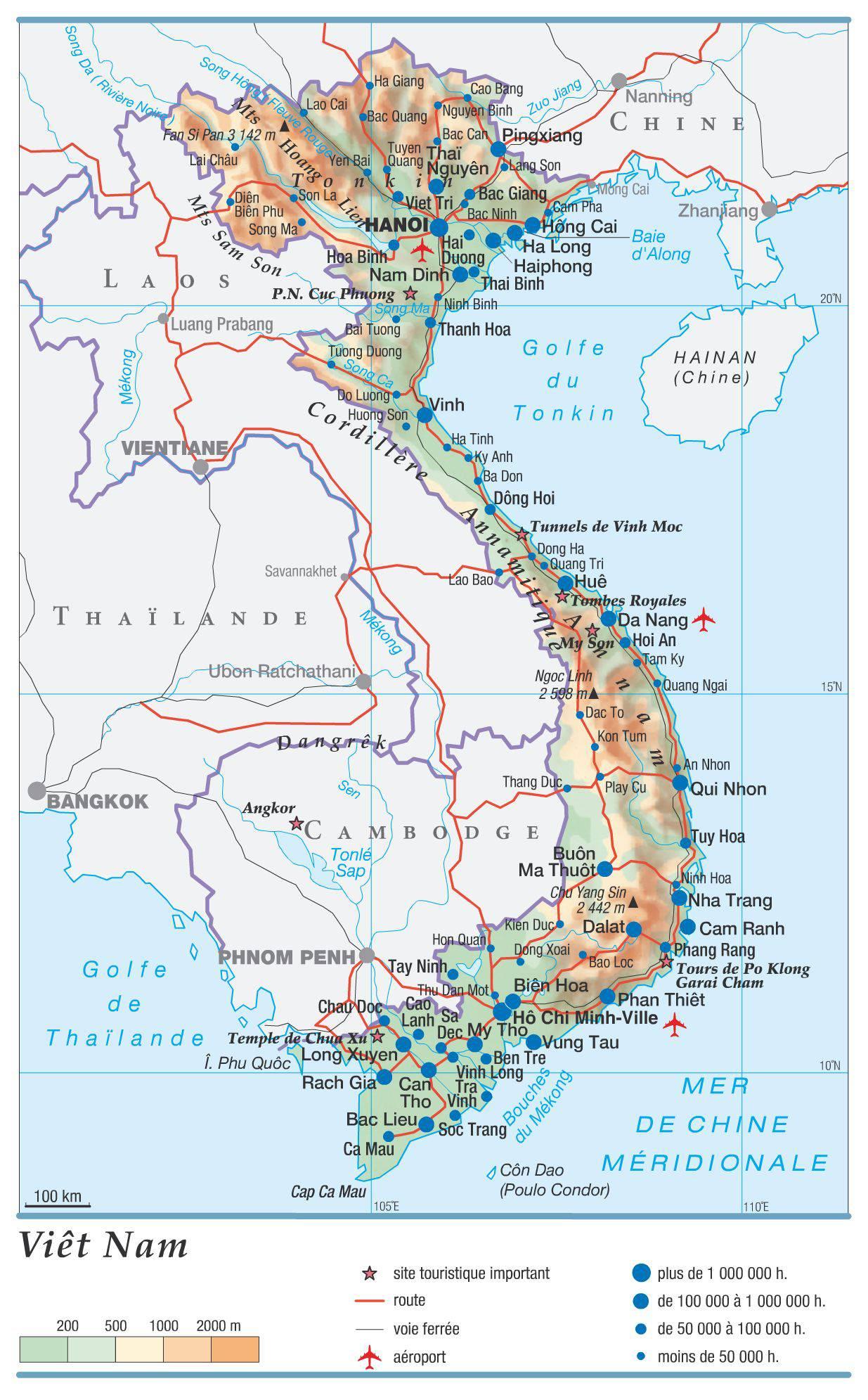Carte géographique du Vietnam
