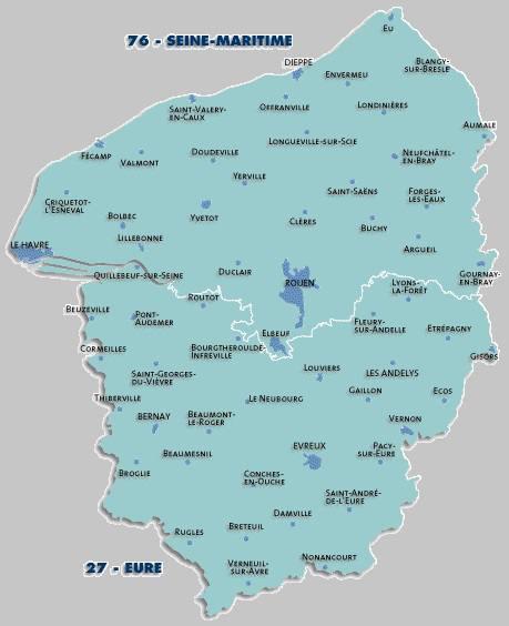 Carte des grandes villes de la Haute-Normandie
