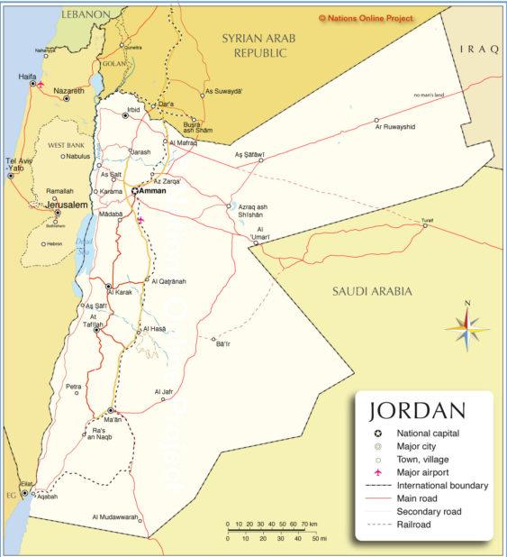 Carte de la Jordanie