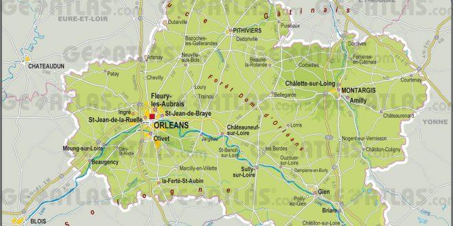 Carte du loiret loiret carte du d partement 45 villes for Region loiret
