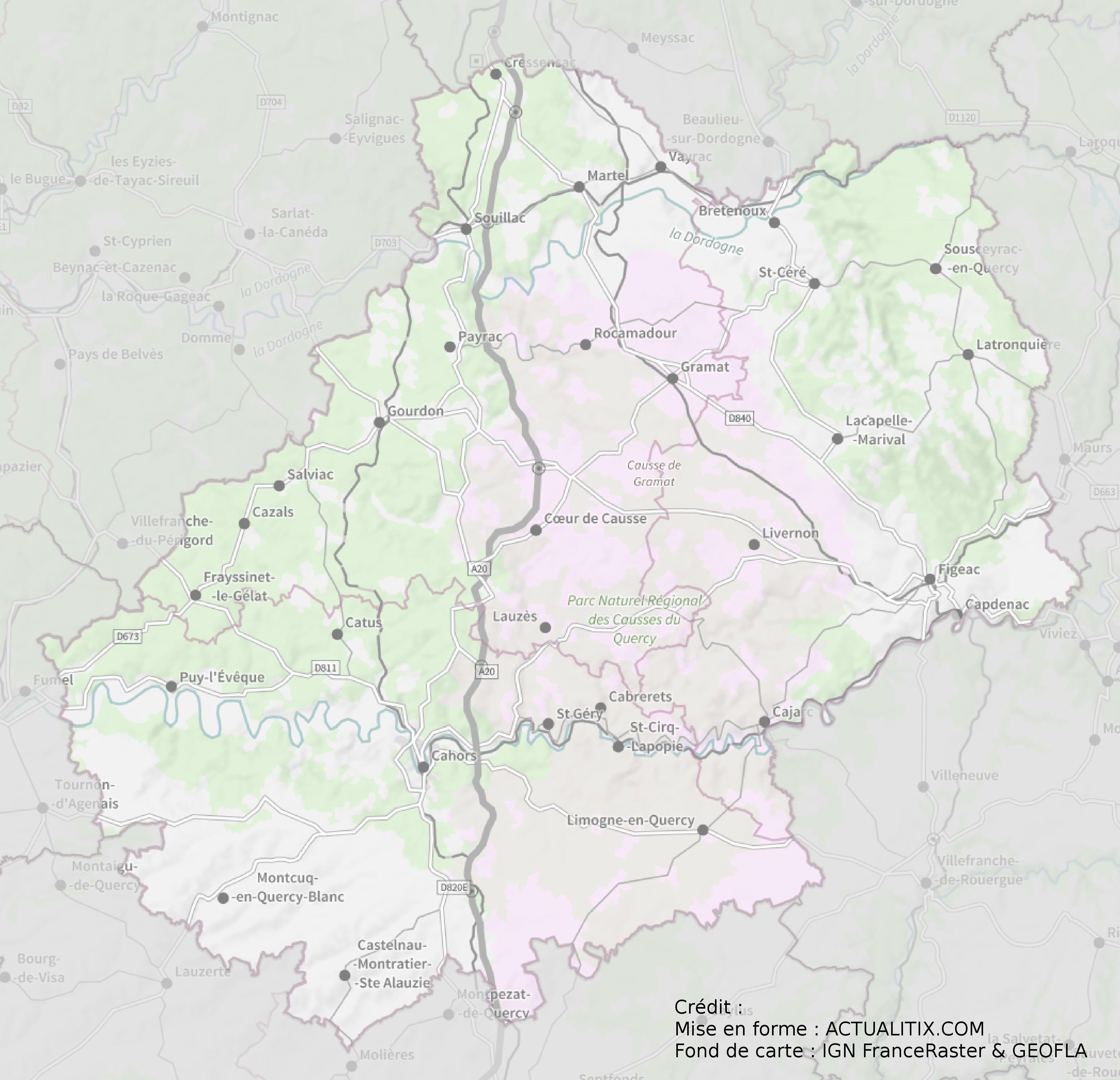 carte du lot détaillée