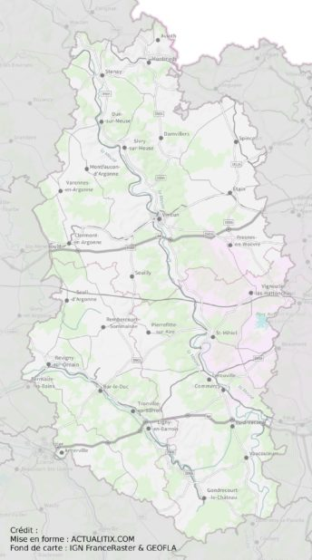 Carte de la Meuse