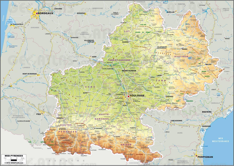 Carte de Midi-Pyrénées