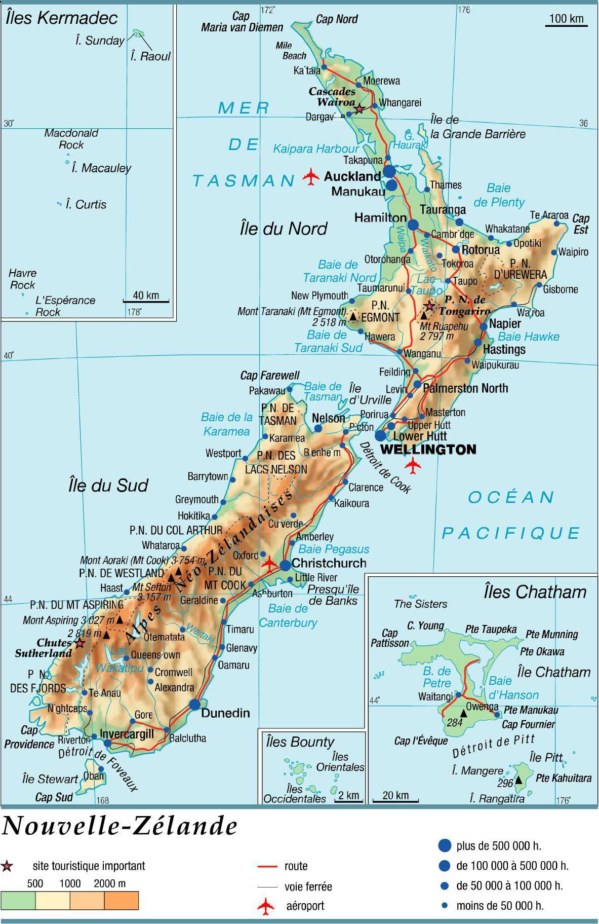 Carte de la Nouvelle Zélande   Plusieurs cartes du pays en Océanien