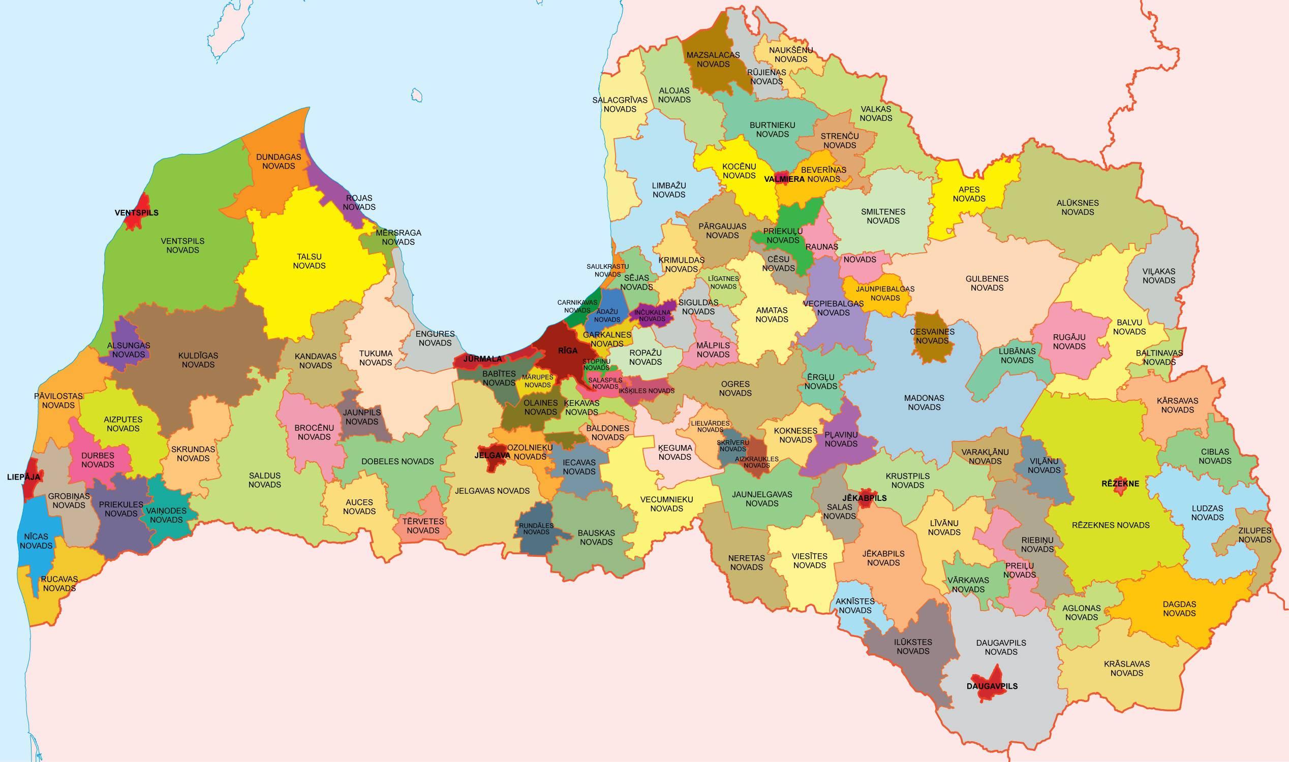 Carte Novadi de la Lettonie