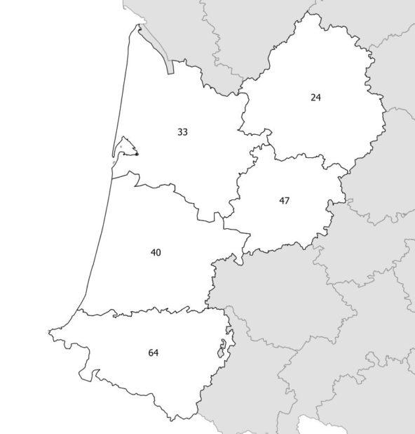 Carte des numéros des départements de l'Aquitaine
