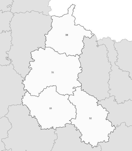 Carte des numéros des départements de Champagne-Ardenne