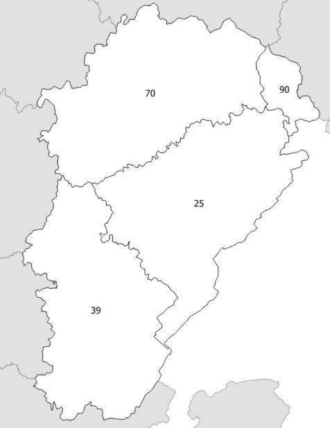 Carte des numéros des départements de la Franche-Comté