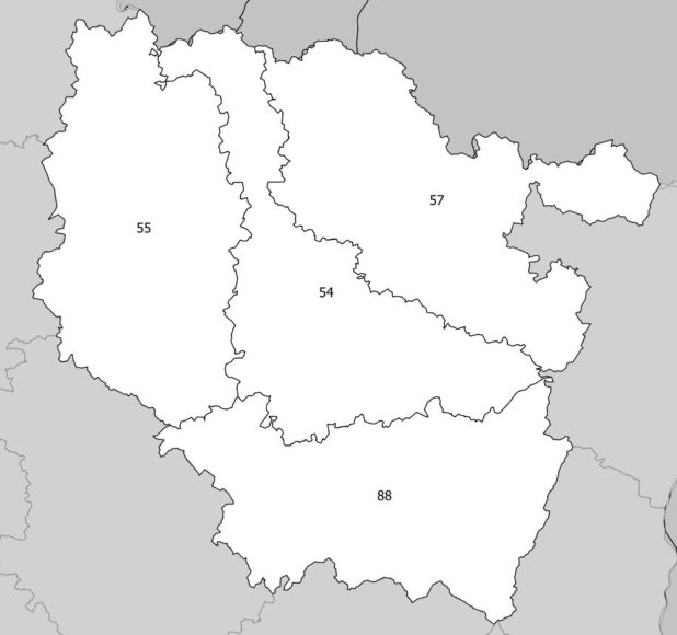 Carte des numéros des départements de Lorraine