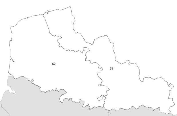 Carte des numéros des départements du Nord-Pas-de-Calais