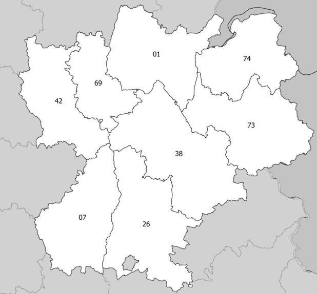 Carte des numéros des départements de Rhône-Alpes