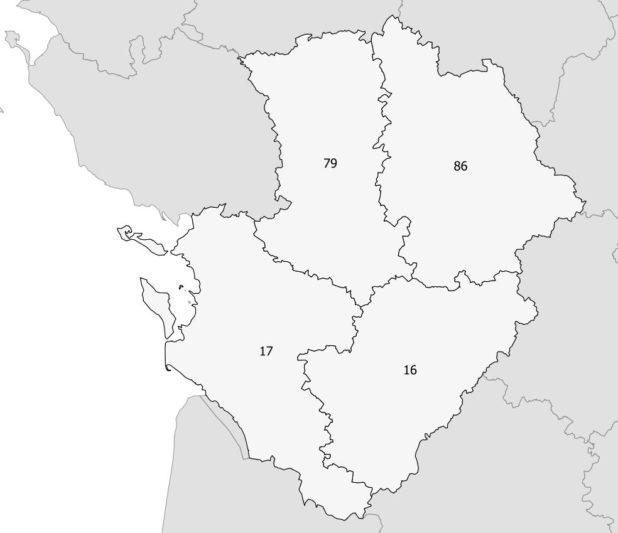 Carte des numéros des départements du Poitou-Charente