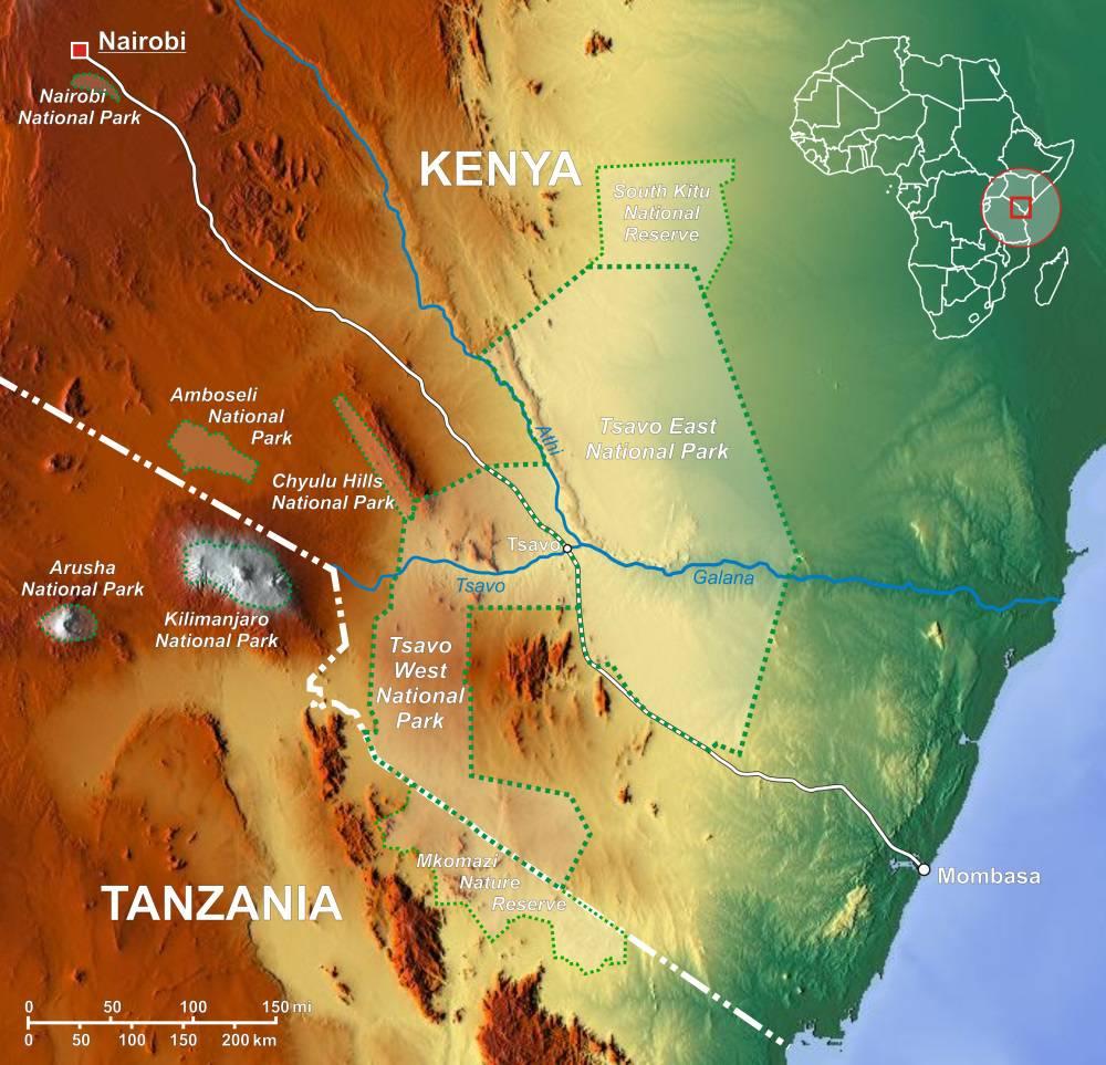 Carte des parcs du Kenya