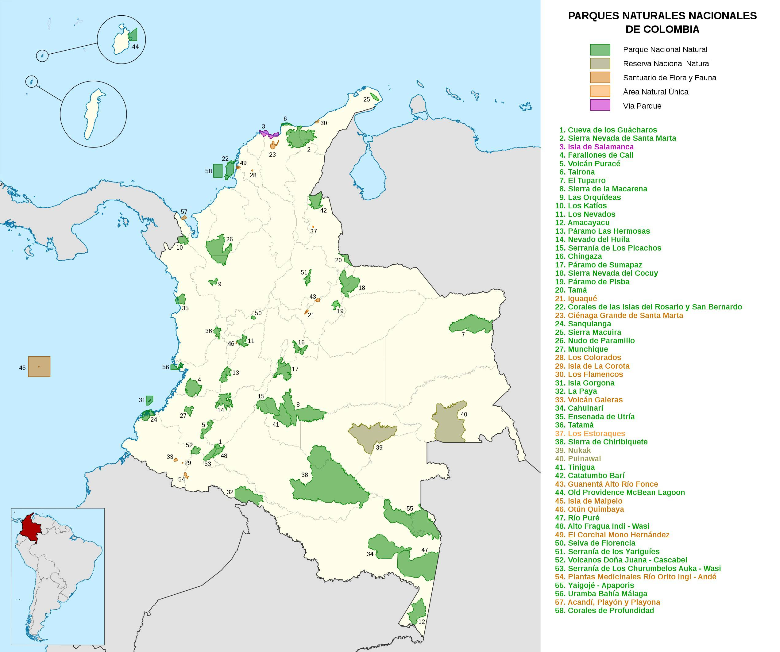 Carte des parcs naturels Colombie