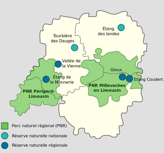 Carte des Parcs naturels du Limousin