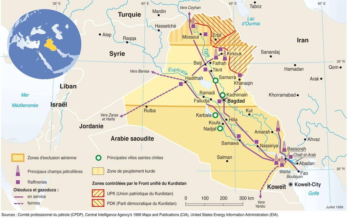 Carte du pétrole en Irak