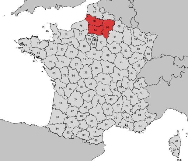 Carte de la région Picardie avec numéro des départements