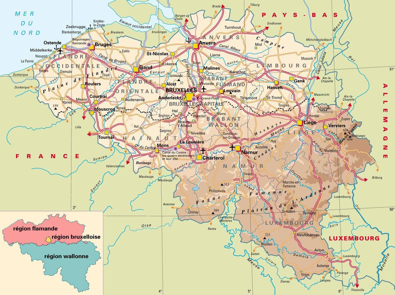 Carte politique de la Belgique