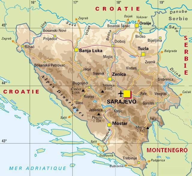 Carte politique de la Bosnie-Herzégovine