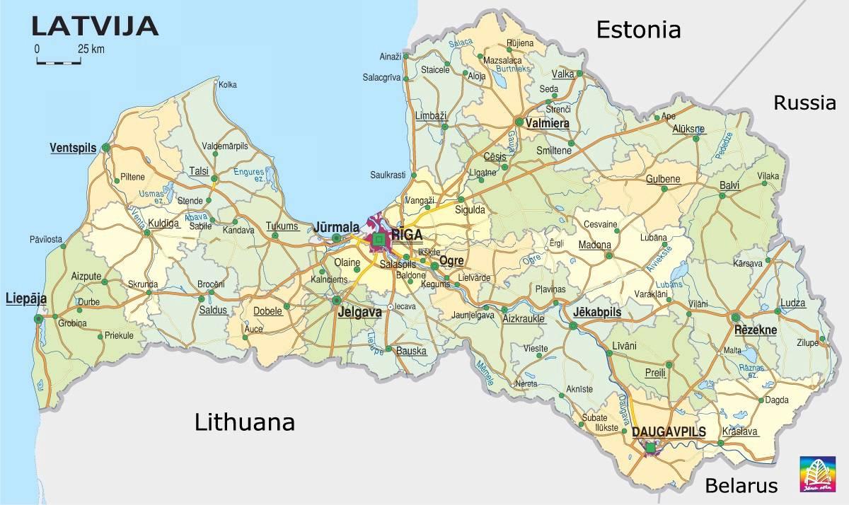 Carte politique de la Lettonie