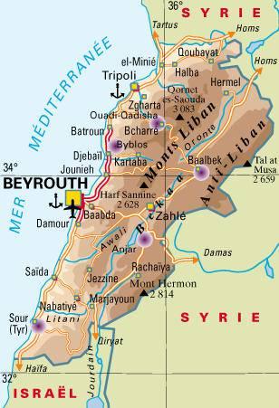 Carte politique du Liban