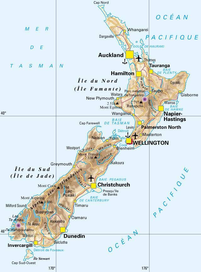 Carte politique de la Nouvelle-Zélande