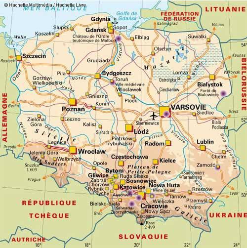 Carte politique de la Pologne