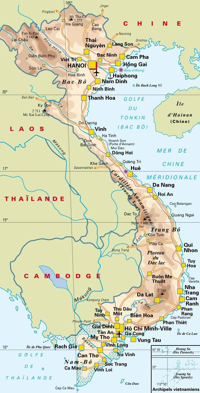 Carte politique du Vietnam