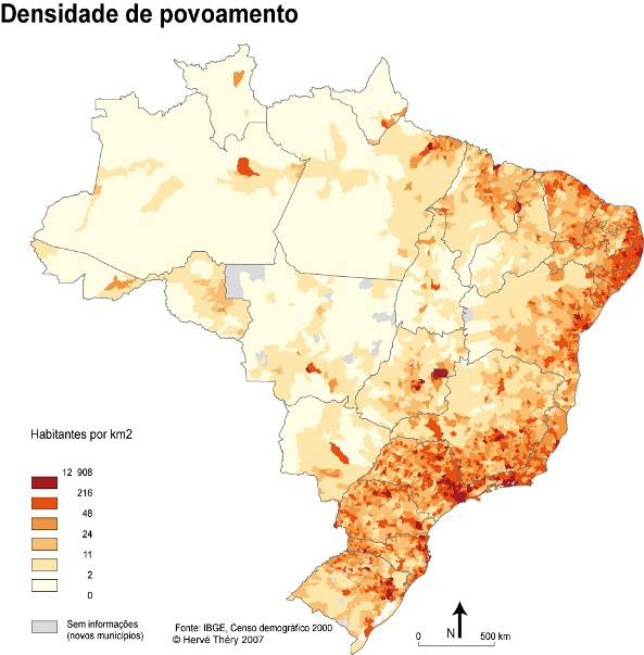 Carte de la population du Brésil