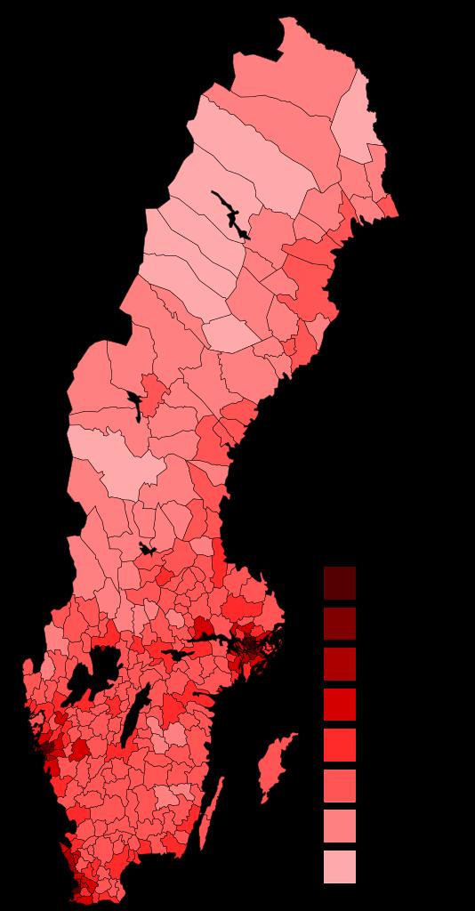 Carte de la population en Suède