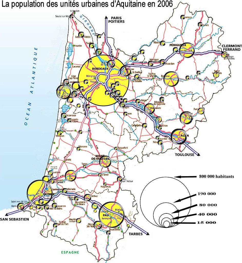 Carte de la population urbaine d'Aquitaine